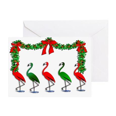Christmas Flamingos Rockettes Greeting Card