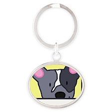 anime_blueheeler_blk Oval Keychain