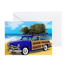Christmas Tree on a Woodie Surfer Ca Greeting Card