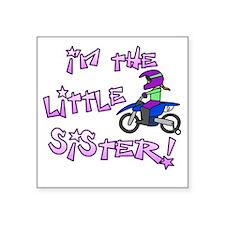 "moto_littlesister_blk Square Sticker 3"" x 3"""