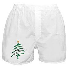 Sweeping Green Metallic Logo Christma Boxer Shorts