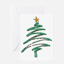 Sweeping Green Metallic Logo Christm Greeting Card