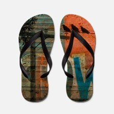 Winter Hearts And Crows Flip Flops