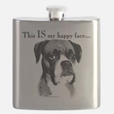 Boxer Happy Face Flask
