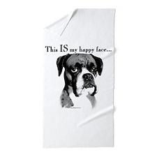 Boxer Happy Face Beach Towel