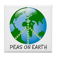 Peace Peas on Earth Christmas Tile Coaster