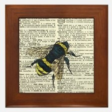 Bumble Bee Dictionary Page Framed Tile