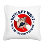 Dive Key West (rd) Square Canvas Pillow