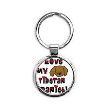 tibetanspaniel_loveanime Round Keychain