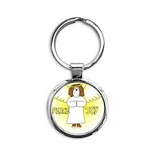 peacejoy_havanese_chocolate Round Keychain