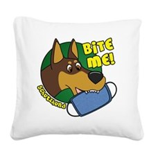 dobermanbite Square Canvas Pillow