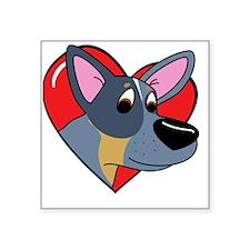 """heartblueheeler_blk Square Sticker 3"""" x 3"""""""