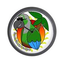 cartoon_greencheek_blk Wall Clock