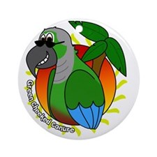 cartoon_greencheek_blk Round Ornament