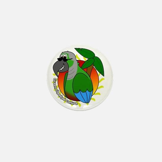 cartoon_greencheek_blk Mini Button
