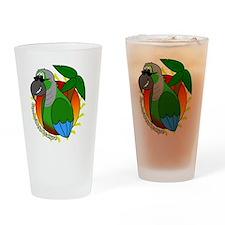 cartoon_greencheek_blk Drinking Glass