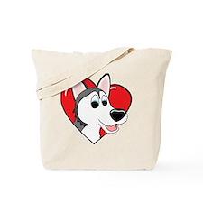 heartsiberianhusky_blk Tote Bag