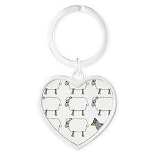 auscattle_herding_blk Heart Keychain