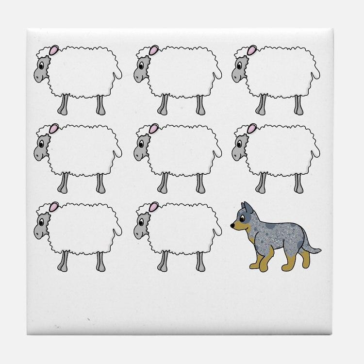 auscattle_herding_blk Tile Coaster