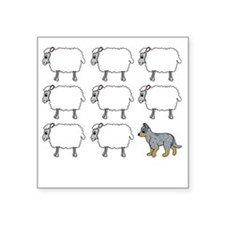 "auscattle_herding_blk Square Sticker 3"" x 3"""