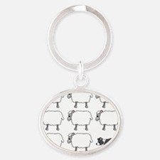 bordercollie_herding Oval Keychain