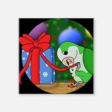 "pickleeatingribbon_ornament Square Sticker 3"" x 3"""
