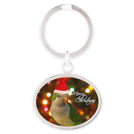 quaker_santa_ornament2 Oval Keychain