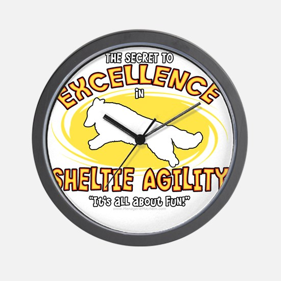 sheltie_excellence_blk Wall Clock