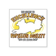 "papillon_excellence_blk Square Sticker 3"" x 3"""
