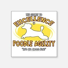 "poodle_excellence_blk Square Sticker 3"" x 3"""