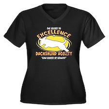 dachshund_ex Women's Plus Size Dark V-Neck T-Shirt