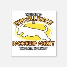 "dachshund_excellence_blk Square Sticker 3"" x 3"""