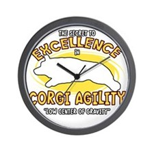 corgi_excellence_blk Wall Clock