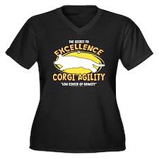 cardigan_exc Women's Plus Size Dark V-Neck T-Shirt