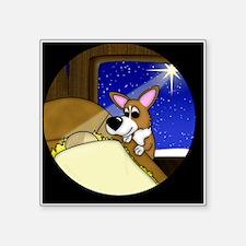 """corgi_manger_ornament Square Sticker 3"""" x 3"""""""