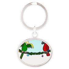 boughsofpolly_blk Oval Keychain