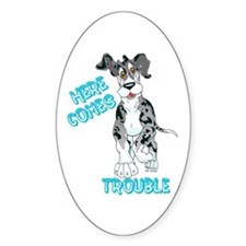 MtlMrl Trouble Pup Oval Decal