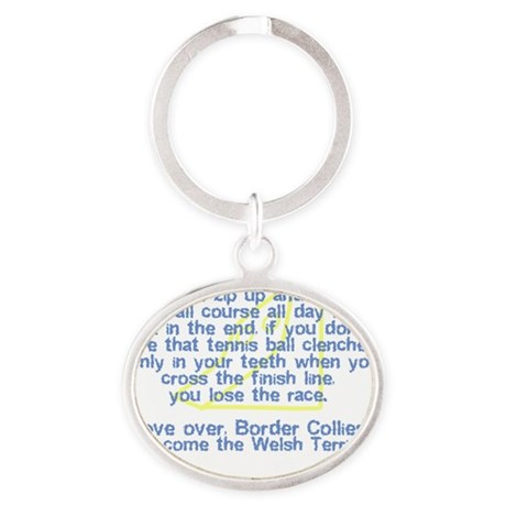herecomethe_welshterrier_hat Oval Keychain