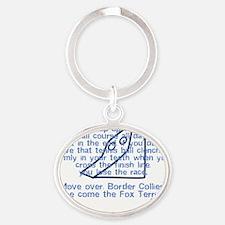 herecomethe_wirefox_blk Oval Keychain