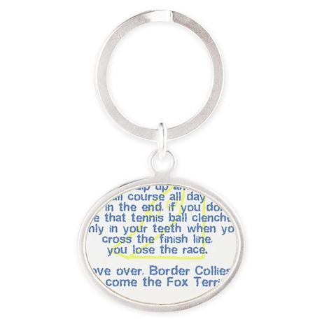herecomethe_wirefox_hat Oval Keychain