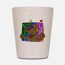 hippie_choclab_blk Shot Glass