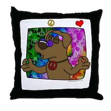 hippie_choclab_blk Throw Pillow