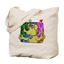 hippie_yellowlab_blk Tote Bag
