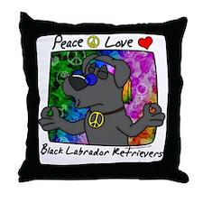 hippie_blacklab Throw Pillow