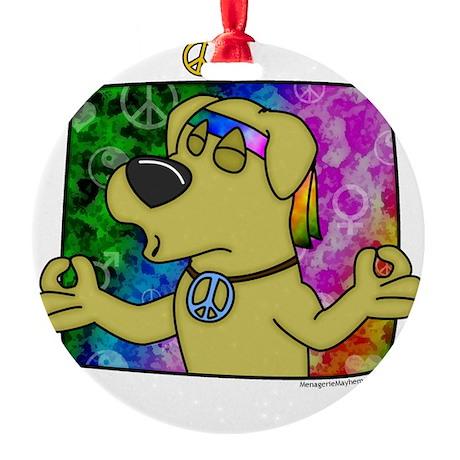 hippie_yellowlab_blk Round Ornament