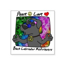 "hippie_blacklab Square Sticker 3"" x 3"""