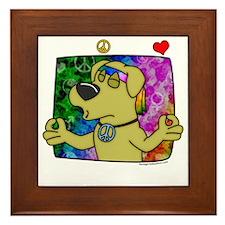 hippie_yellowlab_blk Framed Tile