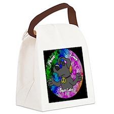 hippie_blacklab_ornament Canvas Lunch Bag