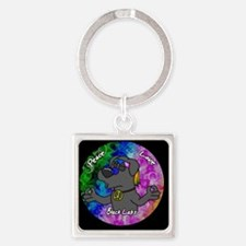 hippie_blacklab_ornament Square Keychain