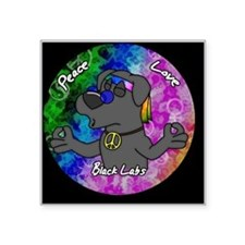 "hippie_blacklab_ornament Square Sticker 3"" x 3"""